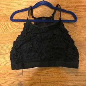 Aerie Black Lace Hi-neck Bralette